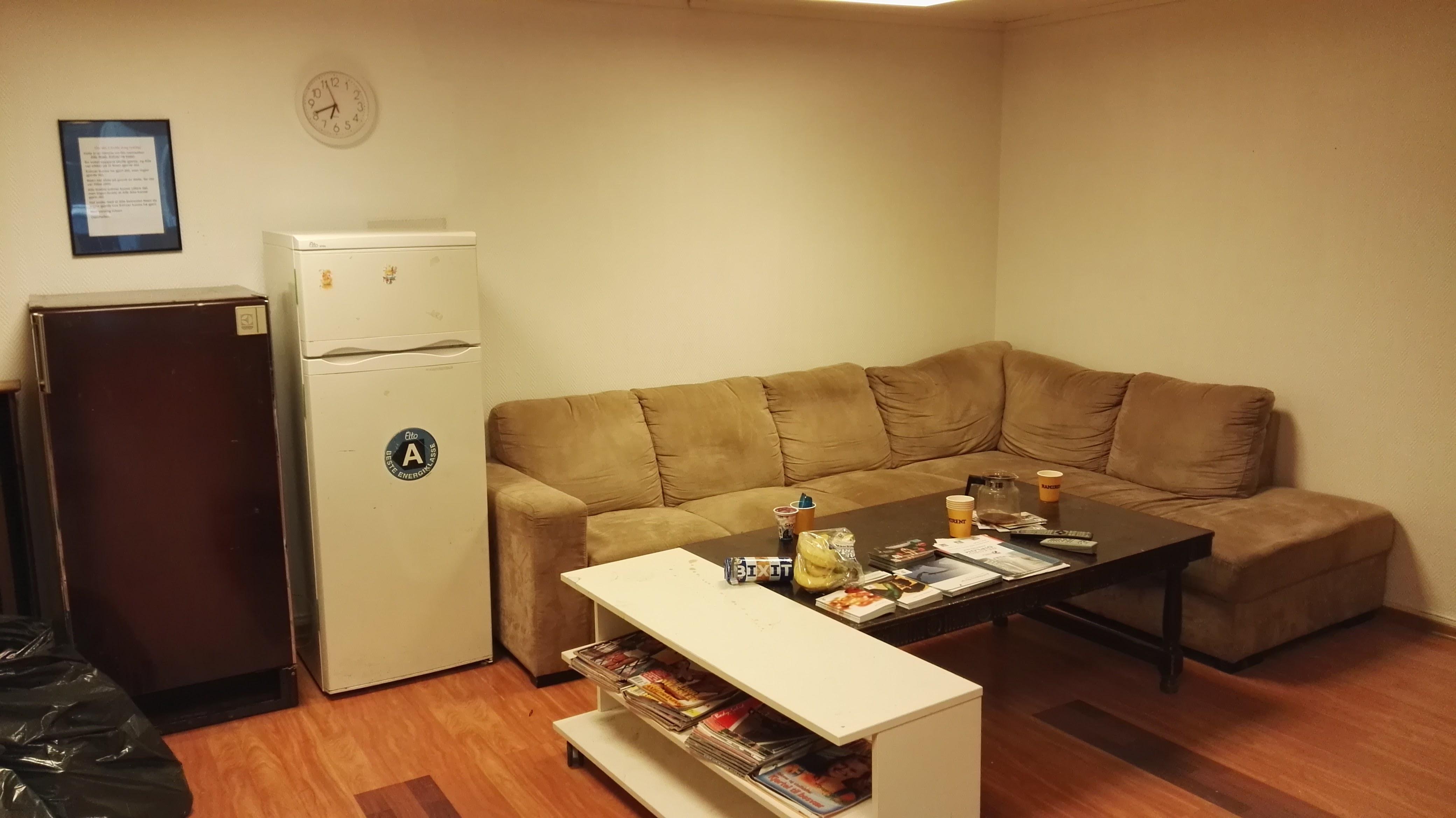 Sofakrok og kjøleskap.