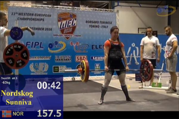 Med et sisteløft på 157,5 kilo tok Sunniva Nordskog bronse totalt i WEC 2016, med en total på 367,5 kilo.