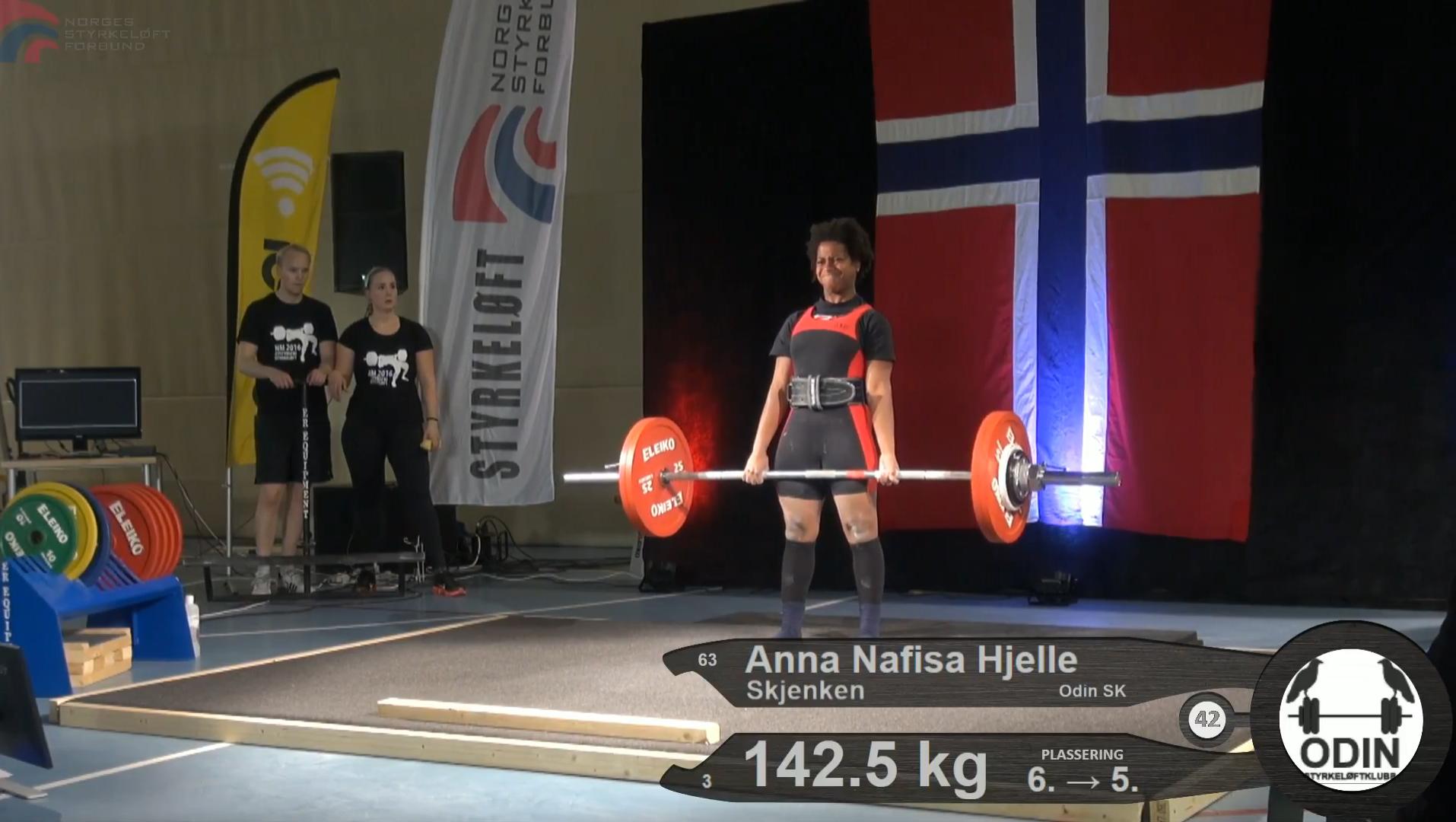 Anna Nafisa Hjelle Skjenken setter ny norsk rekord i markløft for ungdom 14-18 i NM Styrkeløft Utstyrsfritt 2016.