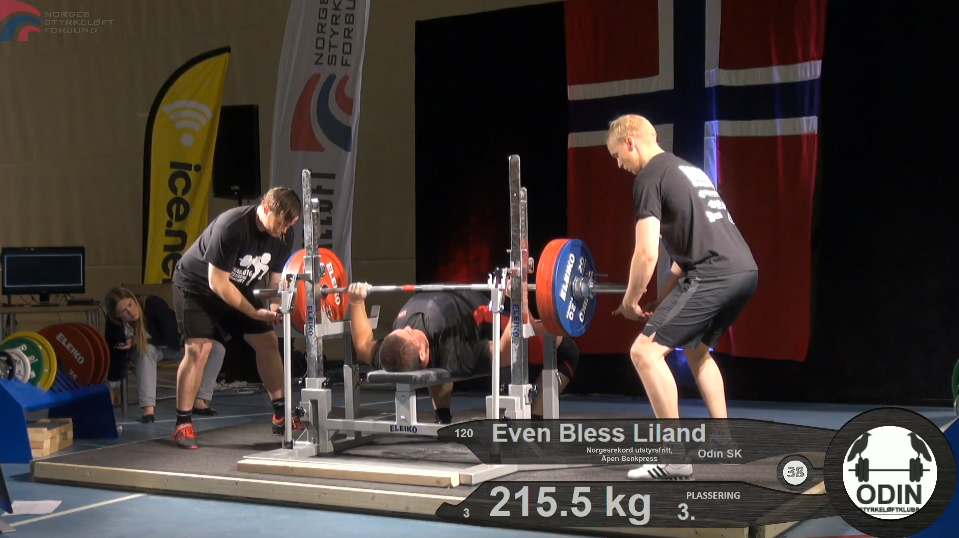 Even Bless Liland setter ny norsk rekord i benkpress i NM Styrkeløft Utstyrsfritt 2016.