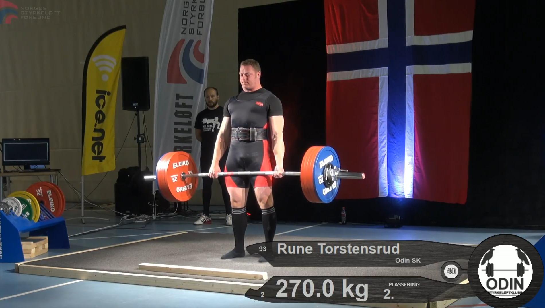 Rune Torstensrud tok sølv -93-kilosklassen i NM Styrkeløft Utstyrsfritt 2016.